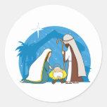 Nativity Scene Round Sticker