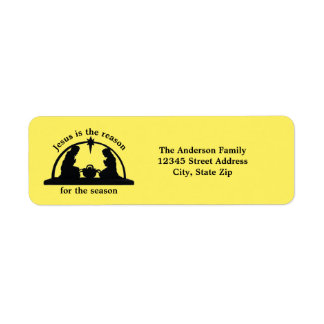 Nativity Scene Yellow - Return Address Label