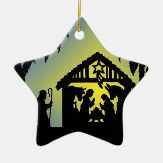 Nativity Silhouette Joy to the World Christmas Ornament