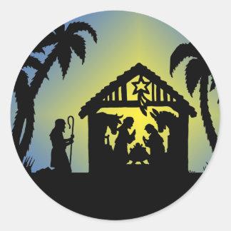 Nativity Silhouette Joy to the World Round Sticker