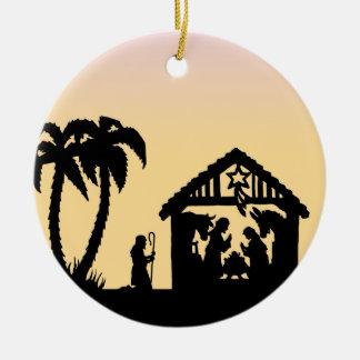 Nativity Silhouette Wise Men on the Horizon Christmas Ornament