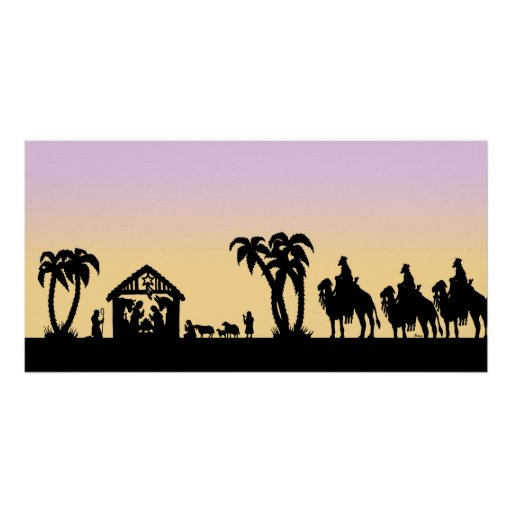 Nativity Silhouette Wise Men on the Horizon Posters
