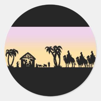 Nativity Silhouette Wise Men on the Horizon Round Sticker