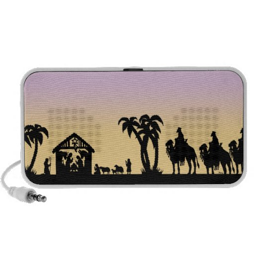 Nativity Silhouette Wise Men on the Horizon Laptop Speakers