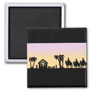 Nativity Silhouette Wise Men on the Horizon Square Magnet