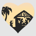 Nativity Silhouette Wise Men on the Horizon Heart Stickers