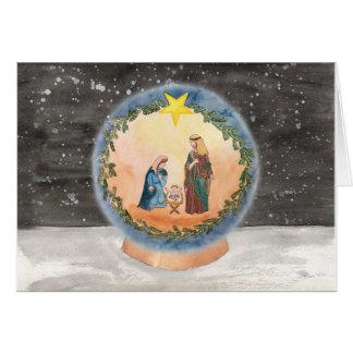 Nativity Snow Globe Christmas Card