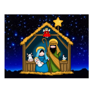 Nativity Stable Scene Postcard