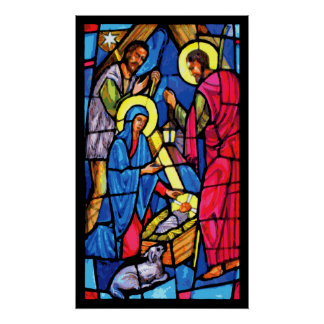 Nativity Stained Glass Christmas Poster