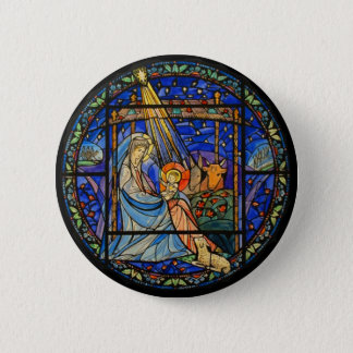 Nativity Stained Glass Window 6 Cm Round Badge