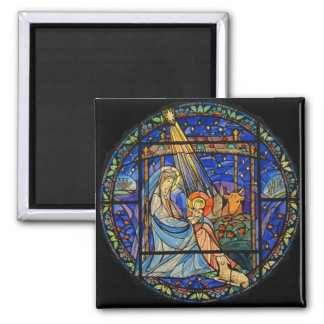 Nativity Stained Glass Window Square Magnet