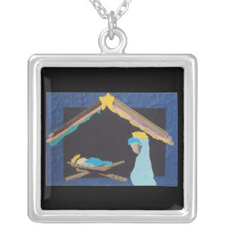 Nativity Torn Paper Image Necklace