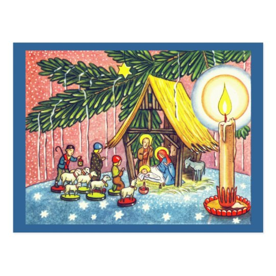 Nativity Under the Tree Christmas Postcard