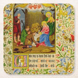 Nativity | Unto you is born this day Square Paper Coaster