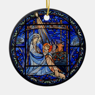 Nativity with Christmas + Date Christmas Ornament