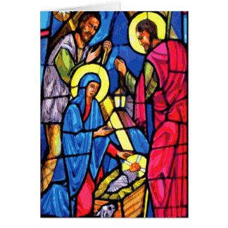 Nativity Zoom Stained Glass Christmas Note Card