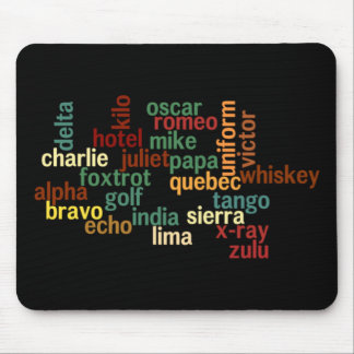 NATO Phonetic Alphabet (Dark Background) Mouse Mat