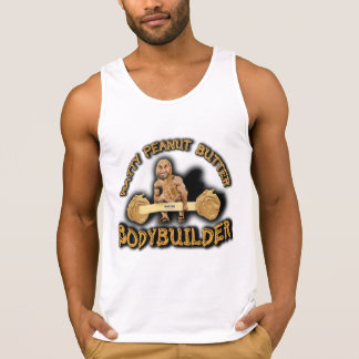 """Natty Peanut Butter Bodybuilder"" White Tank Top"