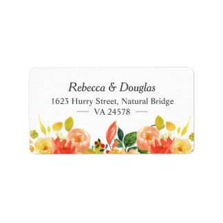 Natural Autumn Peach Watercolor Floral Themed Address Label