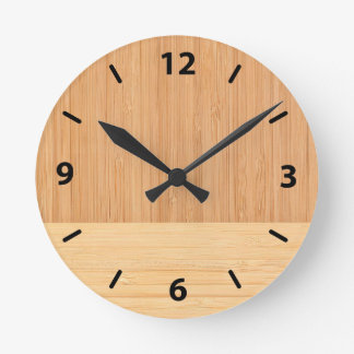 Natural Bamboo Border Wood Grain Look Round Clock
