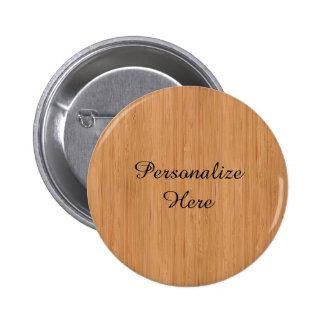 Natural Bamboo Wood Grain Look 6 Cm Round Badge