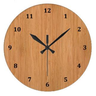 Natural Bamboo Wood Grain Look Large Clock