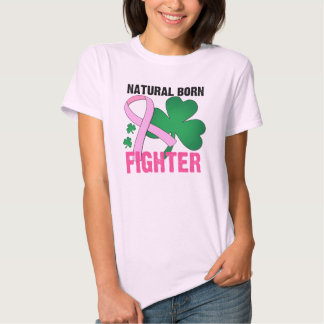 Natural Born Fighter St Patricks Day Breast Cancer T Shirt