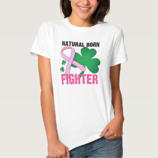 Natural Born Fighter St Patricks Day Breast Cancer Tee Shirts