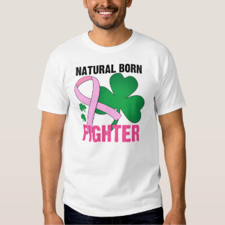 Natural Born Fighter St Patricks Day Breast Cancer Tshirt