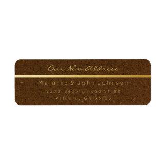 Natural Brown Gold Kraft  New Adress RSVP Return Address Label