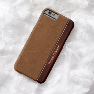 Natural Brown Leather look Barely There iPhone 6 Case