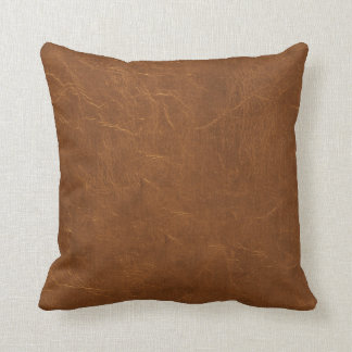 Natural Brown Leather look Throw Pillow