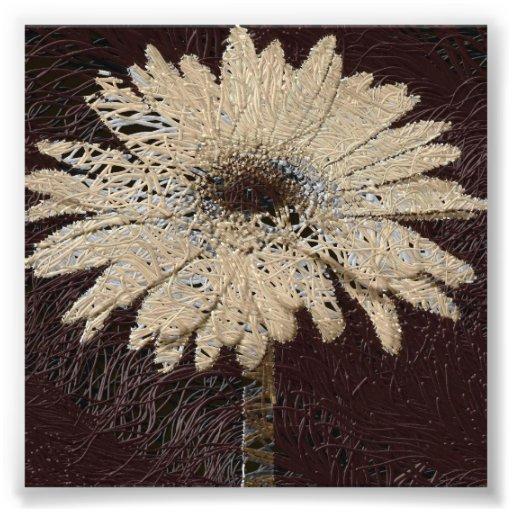 Natural, brown tones Daisy Print wallhanging Photo Print