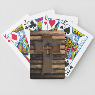 Natural Brown Wooden Cross Bicycle Playing Cards
