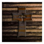 Natural Brown Wooden Cross Poster