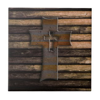 Natural Brown Wooden Cross Tile