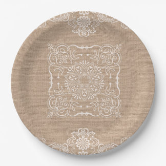Natural Burlap and Lace Paper Plate 9 Inch Paper Plate