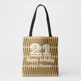 Natural cane wicker tote bag