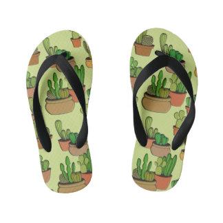 Natural Cartoon Potted Cacti Kid's Flip Flops