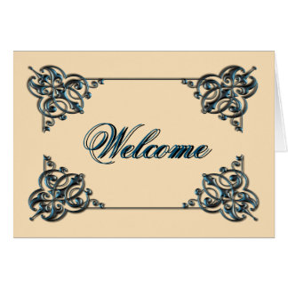 Natural Color with Metal Swirl Border Welcome Greeting Card