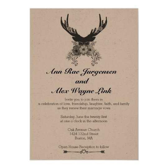 Natural Deer Floral Wedding Invitation