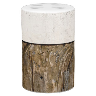 Natural Distressed Wood and Cream Cement Photo Bathroom Set