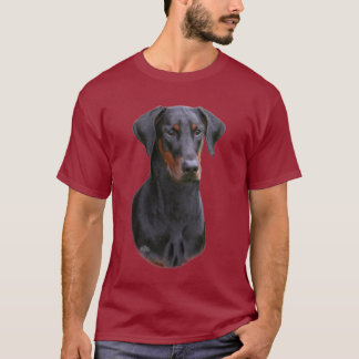 Natural eared black Doberman Pinscher- uncropped T-Shirt