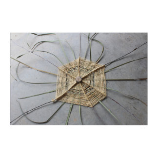 Natural Eco-Art String Sculpture Centered Acrylic Print
