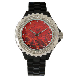 Natural fossilized coral jasper dyed bright red watch