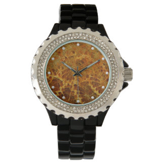 Natural fossilized coral jasper honey colored watch