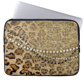 Natural Gold Leopard Animal Print Glitter Look Laptop Sleeve