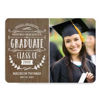 Natural Grad Graduation Announcement - Wood
