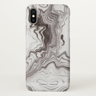 Natural Gray Brown Marble Effect   Personalized iPhone X Case