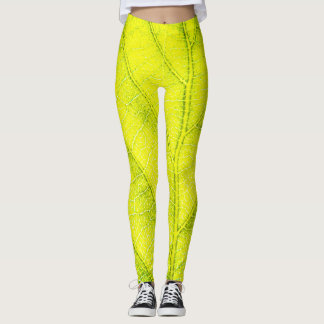 Natural Green Leaf Leggings